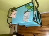 Mid Century cart, kidney table, wall light