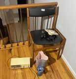 Mid century lot - Made in Denmark chair, clock, radio, vases