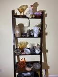 Contents of shelf unit - assorted antiques
