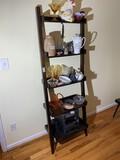 Interesting wooden leaning shelf