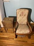 Smoking stand cabinet, chair lot