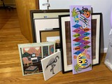 Group lot of art including retro paintings