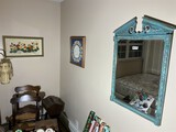 Vintage mirror and two framed pieces