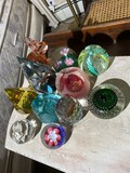Group lot controlled buble and other vintage paperweights