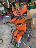 Metal Lawn Art Halloween Cat Witch on Bicycle