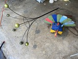 Yard art lot - Metal Turkey and Glass Ball holder