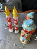 Blow Mold Christmas Candles PLUS Pumpkin Scarecrows
