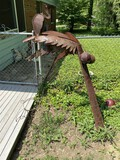 Grouping of large metal yard art pieces