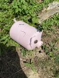 Metal yard art pig