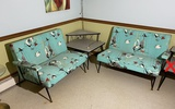 Pair Mid Century Modern 1950s Couches PLUS Lamp table