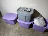 Four totes of misc basement items, figurines etc