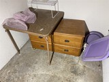 Rolling wooden cabinet or dresser, card table