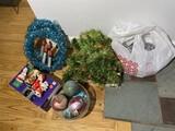 Retro Christmas lot including wreaths, ornaments