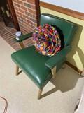 Mid Century Modern Armchair with Green Vinyl