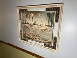 Mid Century Modern Turner Flamingo print in frame