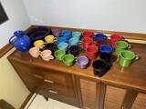 Group lot of assorted Fiesta Mugs, bowl, pitcher