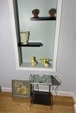 Mid Century ashtray on stand, framed piece, ceramics etc