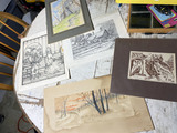 Group lot of signed art including woodblock print