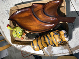 Mid Century wooden tray, wind up toys, skates and more