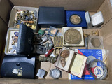 Lot assorted smalls - medals, jewelry, watch case