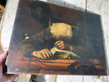 Antique Oil on Canvas Painting Sleeping Scholar