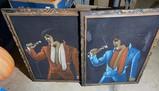 Two larger sized velvet Elvis Presley Paintings