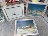 Original winter scene farm painting + 2 prints