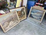 2 Antique Prints PLUS Seaside Painting