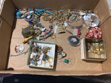 Flat of assorted vintage jewelry