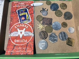 Flat of assorted smalls - watch fobs, tokens, advertising