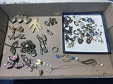 Flat lot of assorted vintage jewelry