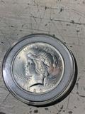 High Grade 1923 Peace Dollar silver coin in holder