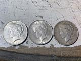 Three Nice grade Peace Dollar silver coins