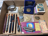 Group lot vintage items - Pens, Trading Cards, tickets, tokens etc