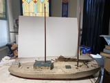 Antique Carved Wooden Sloop Sailing Ship