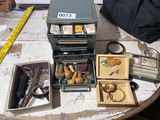 Sorter with watch parts, metal engraving tools
