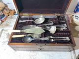 Antique flatware in ornate c. 1900 box