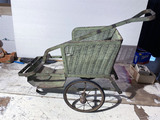Unusual Antique Wicker Salesman Sample Rickshaw or Carriage
