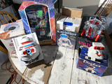 5 Vintage 1980s Plastic Robot Toys in Boxes