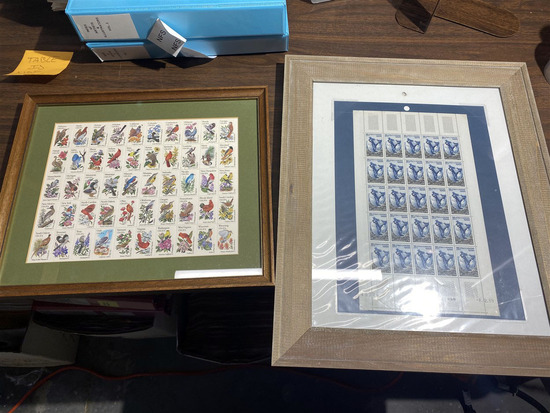 Two framed sheets of US Stamps including US
