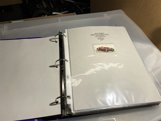 Binder lot of tobacco cards - racing cars, motorcycles