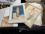Group  lot of larger vintage pinup art pieces - Vargas etc