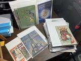 Large lot assorted antique, vintage paper, art deco etc