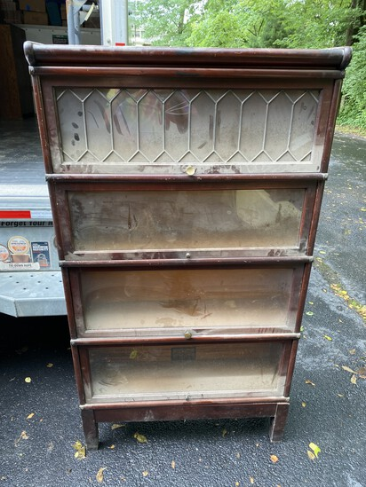Antique 4 section barrister bookcase w/leaded glass