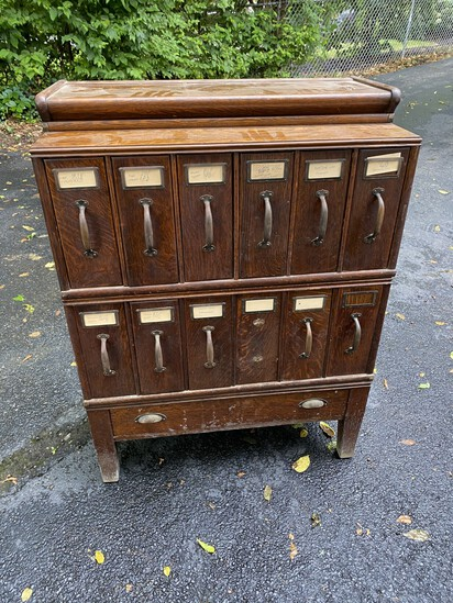 Unusual antique Oak file cabinet for records, magazines