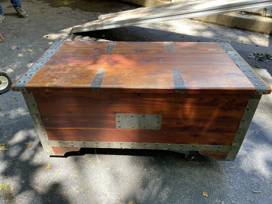 Antique cedar trunk