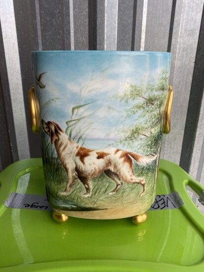 Antique Limoges Vase or basin - hand painted dog, ducks
