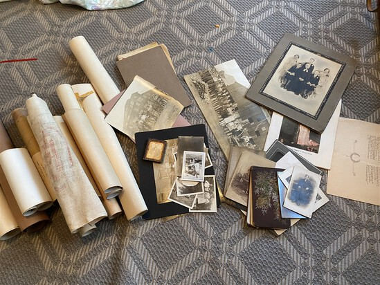 Group lot antique paper, photos