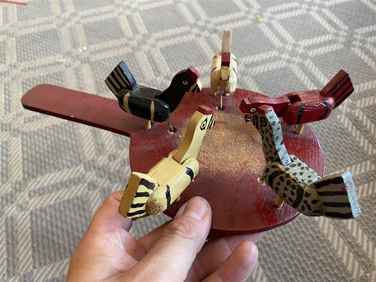 Vintage Folk Art Wooden Chickens Pecking toy