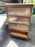 4 Section Barrister Bookcase w/Leaded Glass